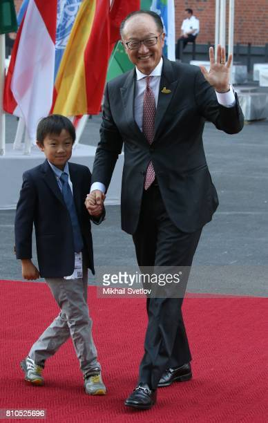President of World Bank Jim Yong Kim and his son Nicholas Jim Kim arrive to the Elbphilharmone for the dinner during the G20 Summit in Hamburg...