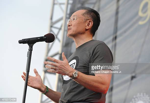 President of World Bank Jim Yong Kim speaks onstage during Global Citizen 2015 Earth Day on National Mall to end extreme poverty and solve climate...