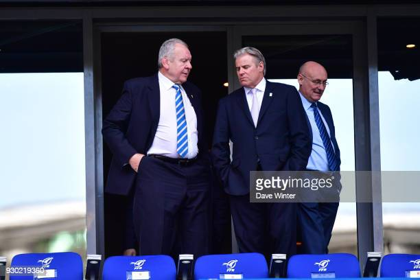 President of World Rugby Bill Beaumont CEO of World Rugby Brett Gosper and President of the French Rugby Federation Bernard Laporte during the RBS...