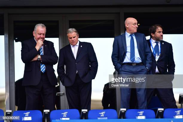 President of World Rugby Bill Beaumont CEO of World Rugby Brett Gosper president of the French Rugby Federation Bernard Laporte and vice president of...