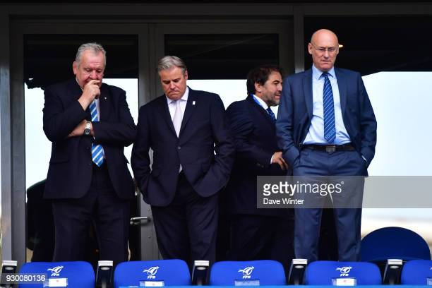 President of World Rugby Bill Beaumont CEO of World Rugby Brett Gosper vice president of the French Rugby Federation Serge Simon and President of the...