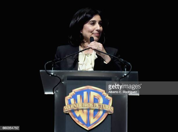 President of Worldwide Marketing and Distribution at Warner Bros Pictures Sue Kroll speaks onstage at CinemaCon 2017 Warner Bros Pictures Invites You...