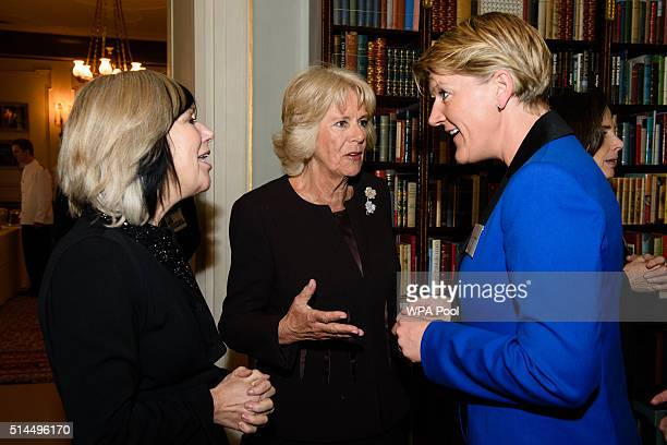 President of WOW Camilla Duchess of Cornwall speaks with Jude Kelly founder of WOW speak with British TV presenter Clare Balding at a reception for...