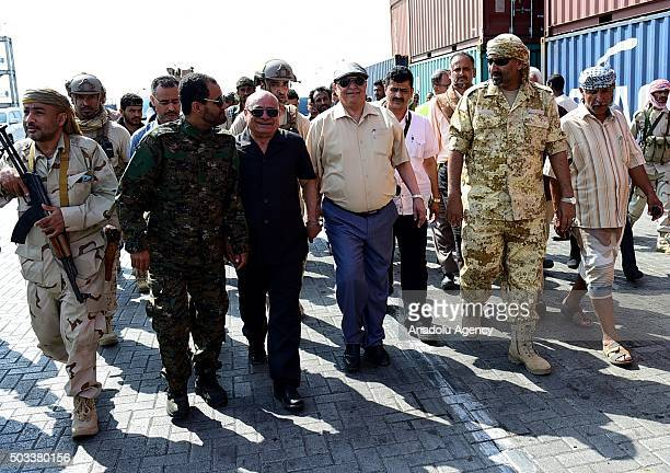 President of Yemen Abd Rabbuh Mansur Hadi visits the Aden's port after it was completely secured by the fighters loyal to Yemen's President Abedrabbo...
