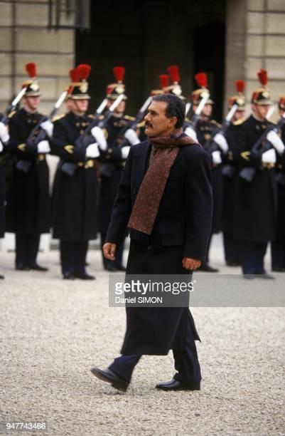 President Of Yemen Ali Abdallah Saleh Arrives At Elysee Palace January 16 1995