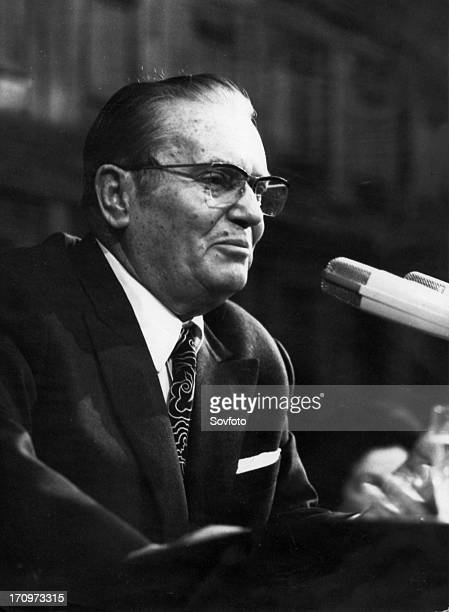 President of yugoslavia josip broz tito during his closing address to the conference of the league of communists belgrade yugoslavia january 1972