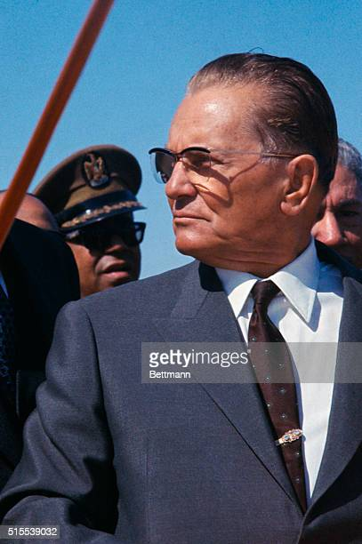 President of Yugoslavia Josip Broz Tito during welcoming ceremonies in Cairo