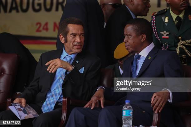 President of Zambia Edgar Lungu talks with President of Botswana Ian Khama during New Zimbabwe President Emerson Mnangagwa's oathtaking ceremony at...