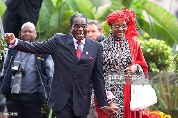 President of Zimbabwe Robert Mugabe and his wife Grace attend the inauguration ceremony of Jacob Zuma on May 9 2009 in Pretoria South Africa Jacob...