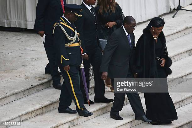 President of Zimbabwe Robert Mugabe and his wife Grace Mugabe attend the canonisation mass of Popes John XXIII and John Paul II on St Peter's on...
