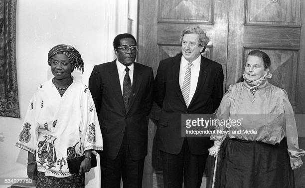 President of Zimbabwe Robert Mugabe his wife Sally former Taoiseach of Ireland Garrett Fitzgerald and his wife Joan at a State reception at Dublin...
