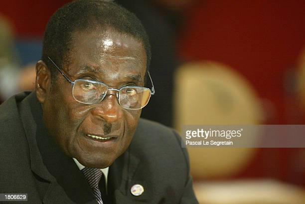 President of Zimbabwe Robert Mugabe in the 22nd African Heads of State Conference on February 21 2003 in Paris France The Summit will focus on...