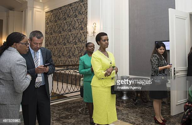 President of Zimbabwe Robert Mugabe's wife Grace Mugabe attends a panel on 'Refugee Women' within B20 / W20 joint Summit held prior to the G20...