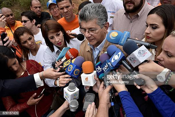 President on National Assembly Henry Ramos Allup address to the press outside Ramo Verde Prision after unsuccssesfully attempt to visit jailed...