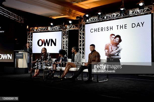President OWN Oprah Winfrey Network Tina Perry Creator Executive producer Ava DuVernay Cicely Tyson Xosha Roquemore and Alano Miller of 'Cherish The...