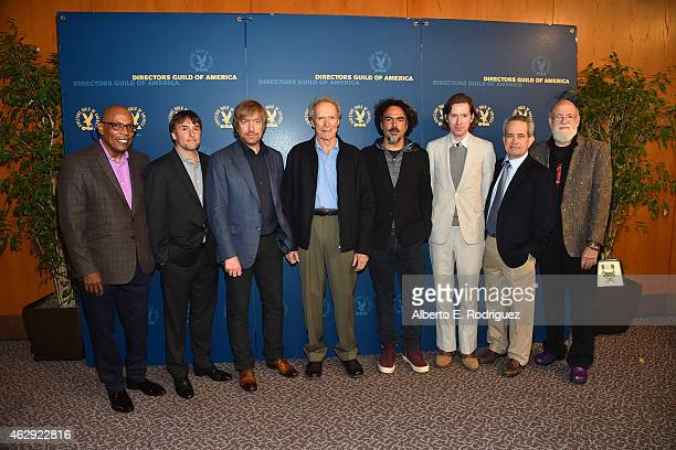 DGA President Paris Barclay 67th Annual DGA Awards Feature Film nominees Richard Linklater Morten Tyldum Clint Eastwood Alejandro G Inarritu and Wes...