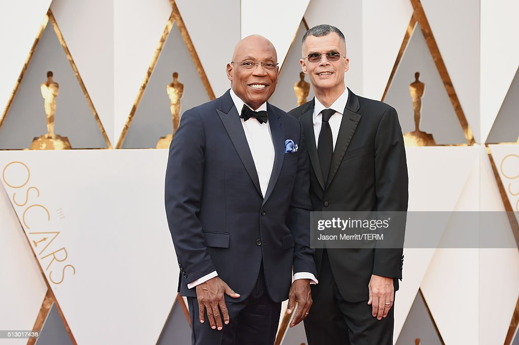 President Paris Barclay (L) and Christopher Mason attend the 88th Annual Academy Awards at Hollywood & Highland Center on February 28, 2016 in Hollywood, California.