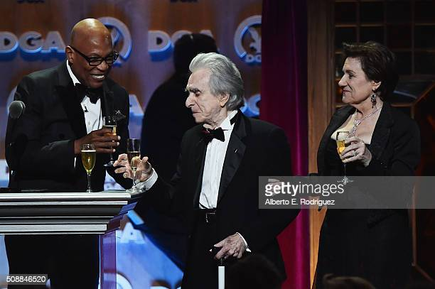 DGA President Paris Barclay director Arthur Hiller and director Martha Coolidge speak onstage at the 68th Annual Directors Guild Of America Awards at...