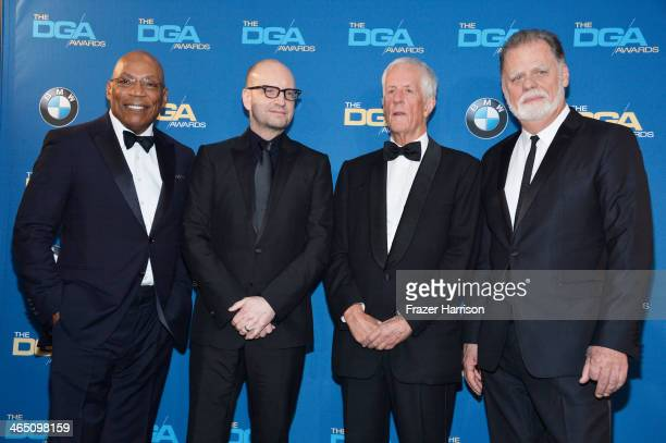 DGA President Paris Barclay director Steven Soderbergh recipient of the Robert B Aldrich Service Award former DGA President Michael Apted and former...