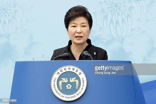 President Park Geun-Hye of South Korea speaks during a ceremony marking Korean Memorial Day at the Seoul National cemetery on June 6, 2016 in Seoul,...