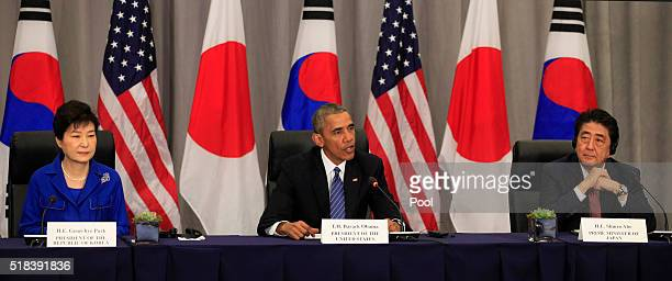 President Park Geun-Hye of the Republic of Korea, President Barack Obama and Prime Minister Shinzo Abe of Japan attend a meeting at the Nuclear...