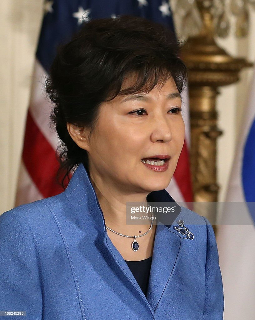 President Park Geun-hye of the Republic of Korea speaks during a news conference with U.S. President Barack Obama in the East Room at the White House, May 7, 2013 in Washington, DC. The two leaders talked about the 60th anniversary of the U.S. and South Korean alliance and answered questions on growing tensions with North Korea.