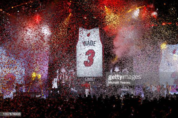 President Pat Riley of the Miami Heat reveals the retired jersey banner for former player Dwyane Wade during the Miami Heat Dwyane Wade L3GACY...