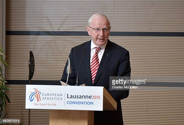 President Patrick Hickey gives his keynote speech during the opening of the European Athletics Convention at the Movenpick Hotel on October 16 2015...