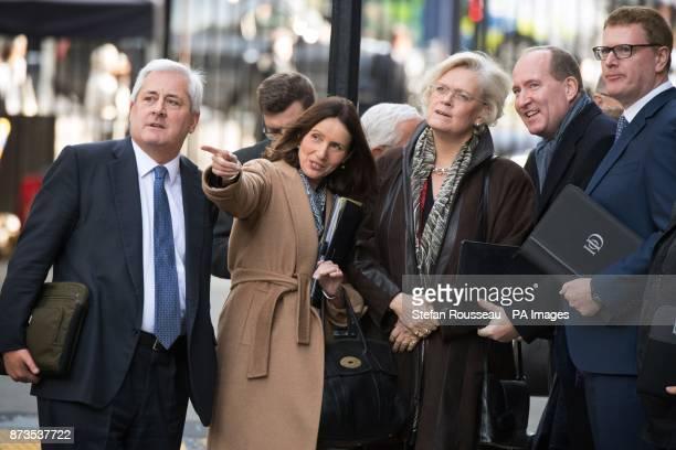 CBI President Paul Drechsler CBI director general Carolyn Fairbairn and IoD director general Stephen Martin arriving in Downing Street London where...