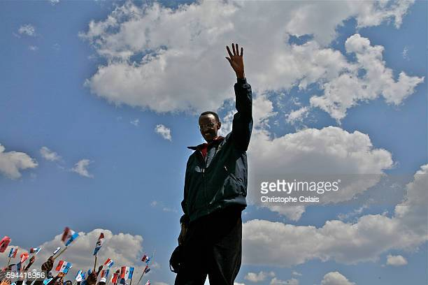 President Paul Kagame campaigns for his reelection in a Rwandan Patriotic Front political rally in Gahanga Kirehe district East of the country Rwanda...