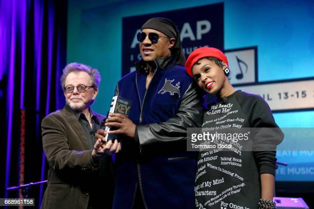 ASCAP President Paul Williams and musicians Stevie Wonder and Janelle Monae onstage at Stevie Wonder presented with 'Key of Life' Award at the ASCAP...
