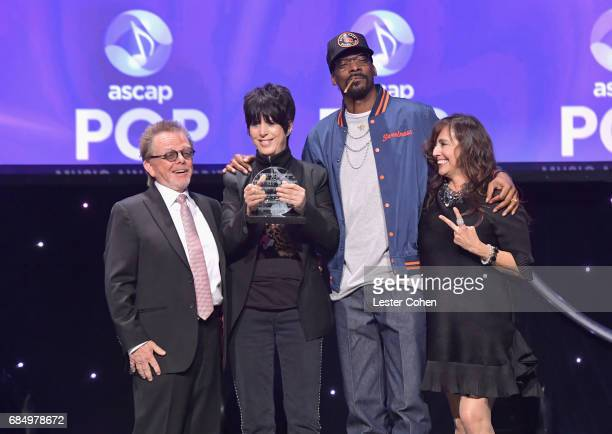 ASCAP President Paul Williams songwriter Diane Warren rapper Snoop Dogg and Loretta Munoz onstage at the 2017 ASCAP Pop Awards at The Wiltern on May...