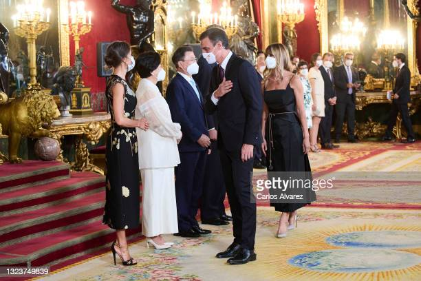 President Pedro Sanchez and wife Begoña Gomez attend a State Dinner honouring Korean President at the Royal Palace on June 15, 2021 in Madrid, Spain.