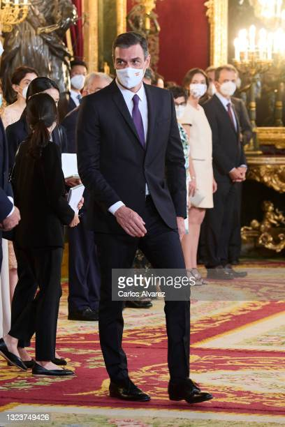 President Pedro Sanchez attends a State Dinner honouring Korean President at the Royal Palace on June 15, 2021 in Madrid, Spain.