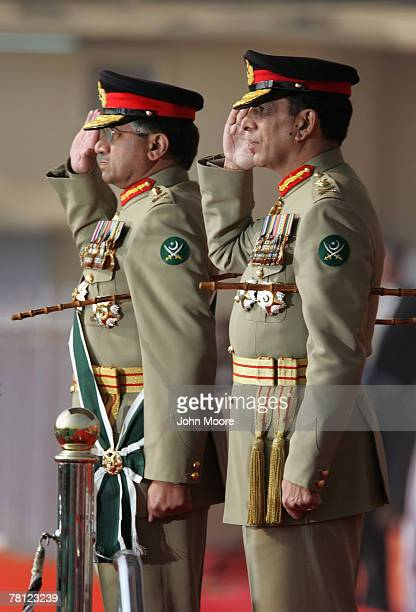 President Pervez Musharraf and new army chief Gen Ashfaq Kayani salute Pakistani troops at a change of command ceremony onNovember 28 2007 in...