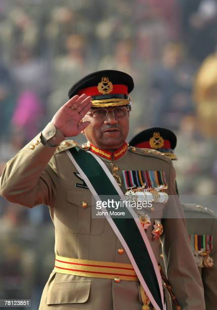 President Pervez Musharraf gives a farewell salute to military forces at a change of command ceremony November 28 2007 in Rawalpindi Pakistan...