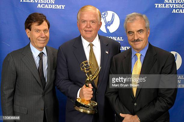 President Peter Price CNN Anchor Lou Dobbs and Past President of CBS News Andrew Heyward at the 2005 Business and Financial Reporting Emmy Award...