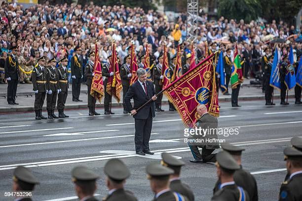 President Petro Oleksiyovych Poroshenko participates in a ceremony on Independence Square to award members of the military before a military parade...