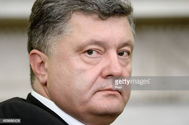President Petro Poroshenko of Ukraine looks on in the Oval Office of the White House September 18, 2014 in Washington, DC. The two leaders held a...