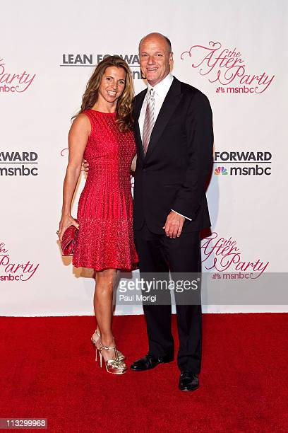 MSNBC president Phil Griffin and Kory Apton attend the MSNBC Correspondents' after party with FIJI Water at Embassy of Italy on April 30 2011 in...