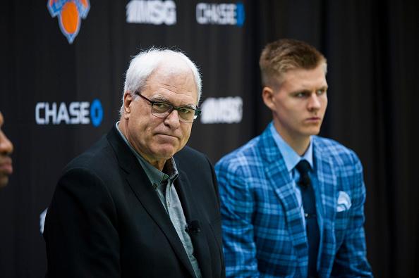 NY Knicks President Phil Jackson and Kristaps : News Photo