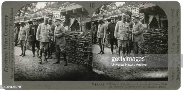 President Poincare Marshall Joffre Visiting Officers Quarters on the Somme Front Stereo Card Keystone View Company 1916