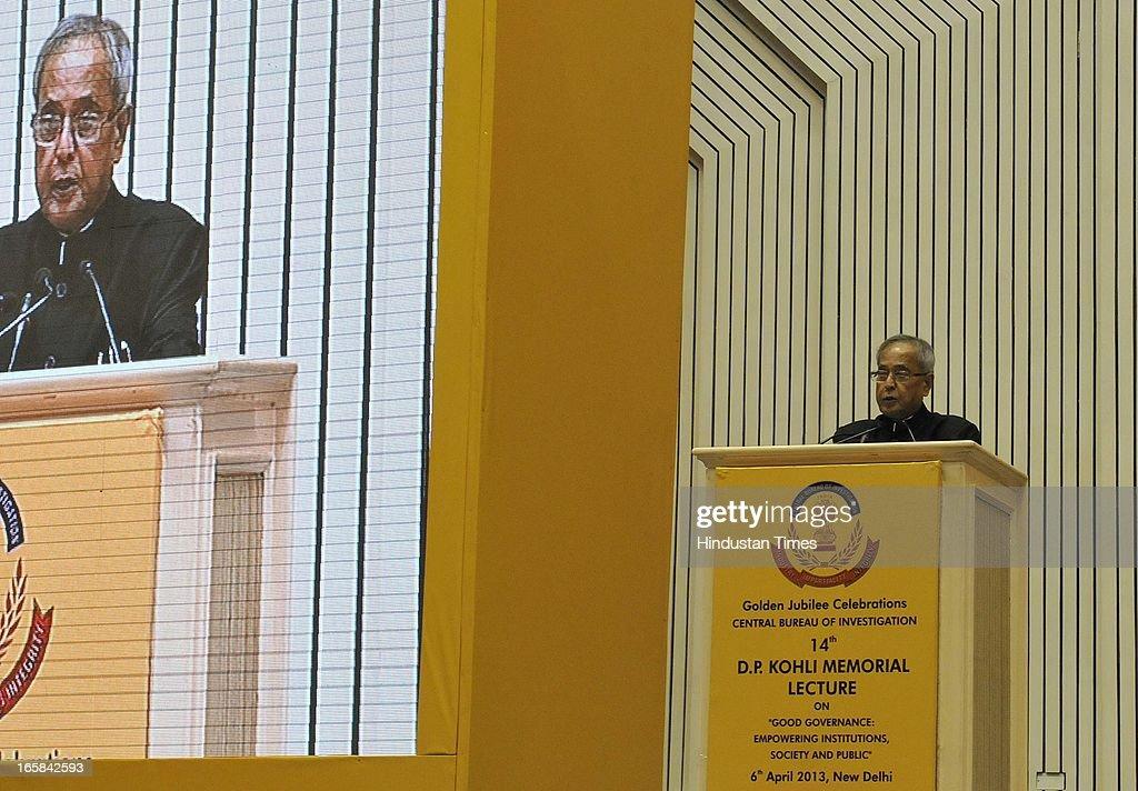 President Pranab Mukherjee addressing the Central Bureau Investigation (CBI) Golden Jubilee celebration on April 6, 2013 in New Delhi, India.