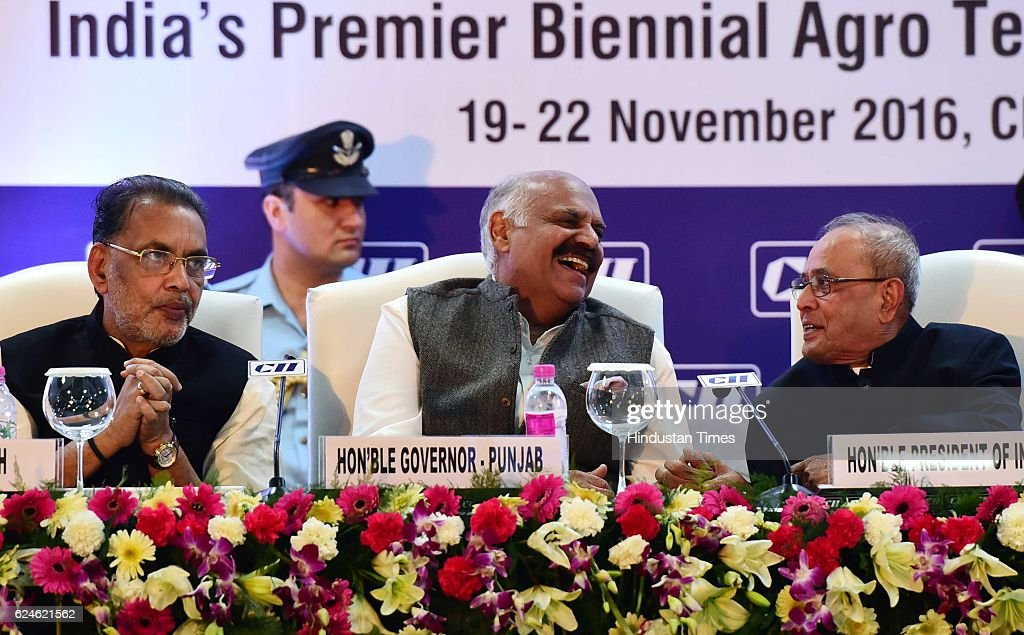 President Pranab Mukherjee and Governor Punjab VP Singh Badnore Union Agriculture Minister Radha Mohan Singh during inaugural session of 12th edition.