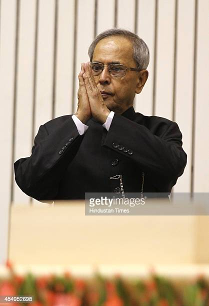 President Pranab Mukherjee during the International Literacy Day celebrations at Vigyan Bhawan on September 8 2014 in New Delhi India President...