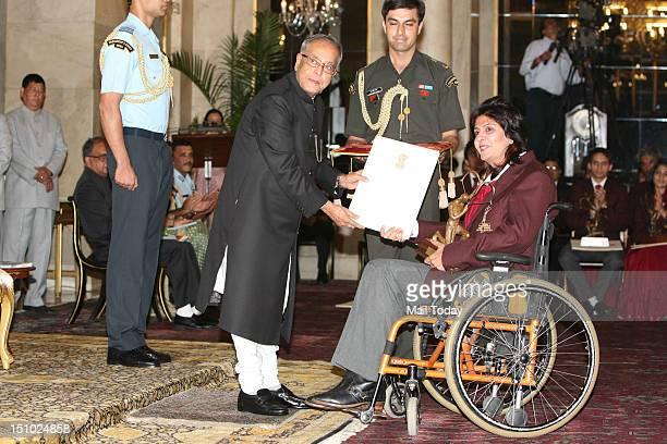 President Pranab Mukherjee honours Paralympian athelete Deepa Malik with Arjuna Award 2012 with Arjuna Award 2012 at President's House in New Delhi...