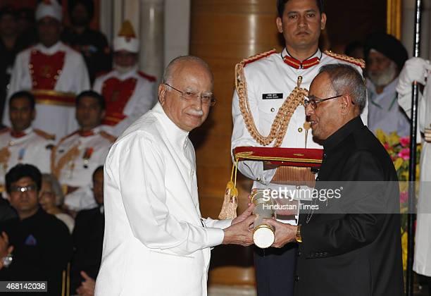 President Pranab Mukherjee presents Padma Vibhushan award to BJP Leader LK Advani during a Civil Investiture Ceremony at Rashtrapati Bhavan on March...