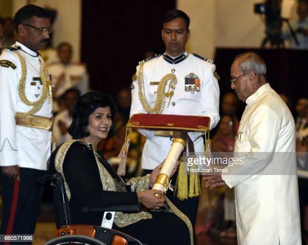 President Pranab Mukherjee presents the Padma Shri Award 2017 to Deepa Malik during the Padma Awards 2017 ceremony at Rashtrapati Bhavan on March 30...