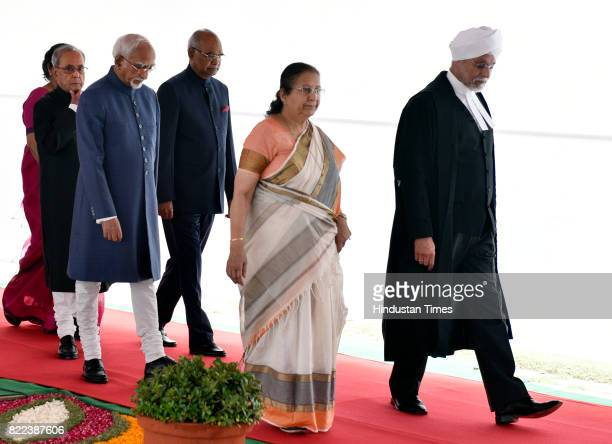 President Pranab Mukherjee Presidentelect Ram Nath Kovind Vice President Hamid Ansari Lok Sabha Speaker Sumitra Mahajan and Chief Justice of India J...
