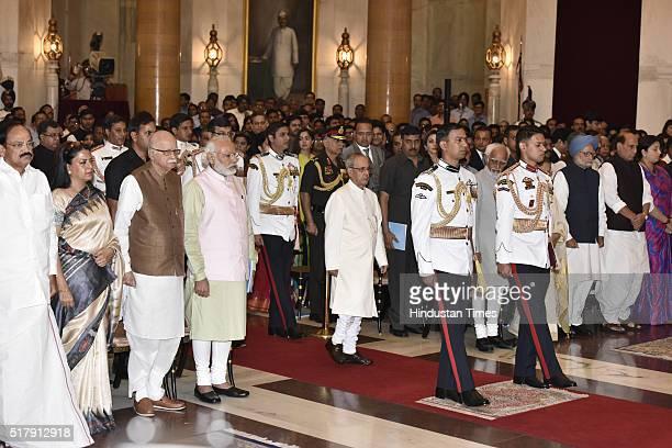 President Pranab Mukherjee Prime Minister Narendra Modi with senior BJP leader LK Advani and other dignitaries during the Padma Awards Investiture...